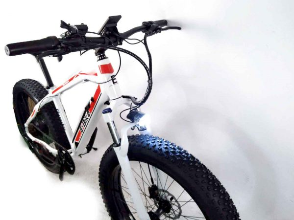 electric bike image with fat tyres and led front light