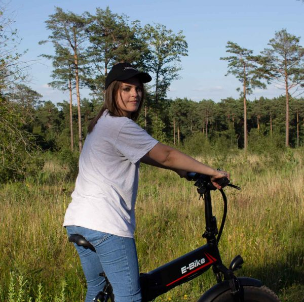 women on ebike